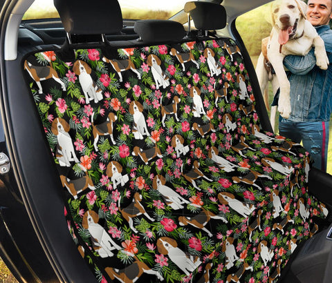 Beagle Dog Floral Print Pet Seat Cover