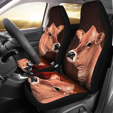 Cute Jersey Cattle (Cow) Print Car Seat Cover