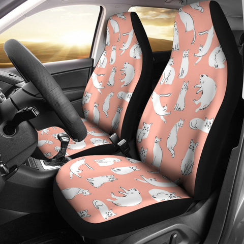White Persian Cat Pattern Print Car Seat Covers