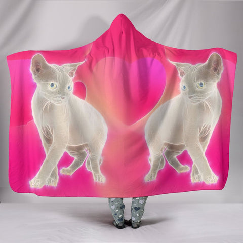 Amazing Devon Rex Cat Print Hooded Blanket