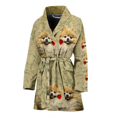 Cute Pomeranian Dog Print Women's Bath Robe