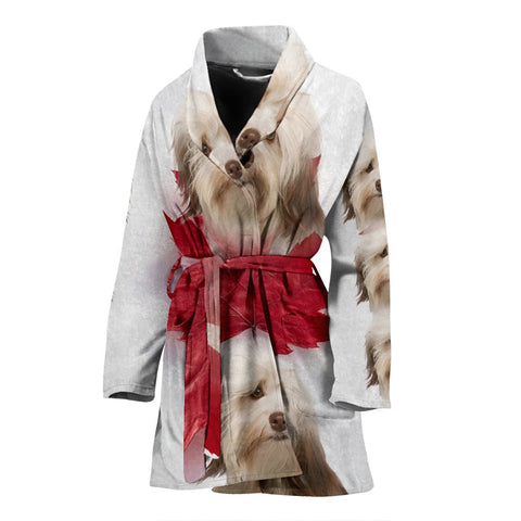 Cute Havanese On White Print Women's Bath Robe
