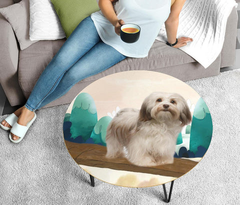 Cute Havanese Dog Print Circular Coffee Table