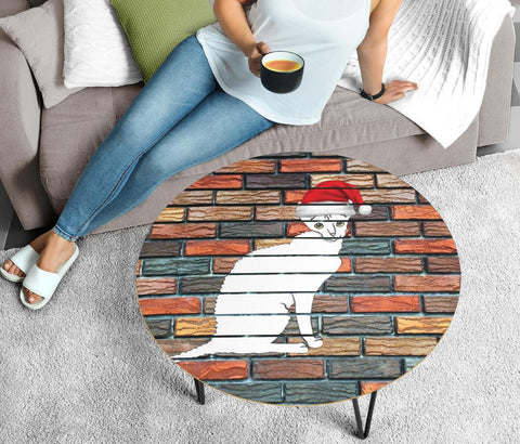 Cornish Rex Cat Print Circular Coffee Table