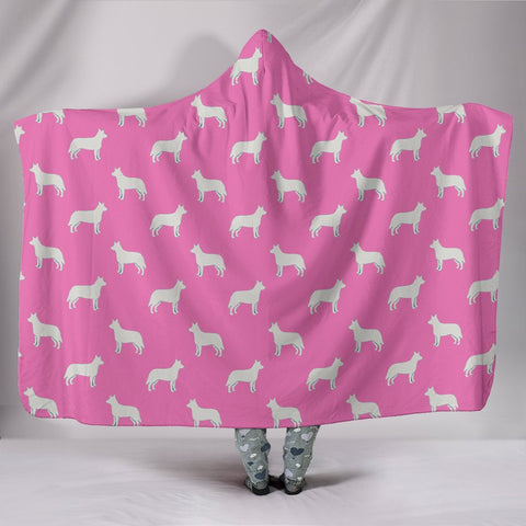 Australian Cattle Dog Pattern Print Pink Hooded Blanket