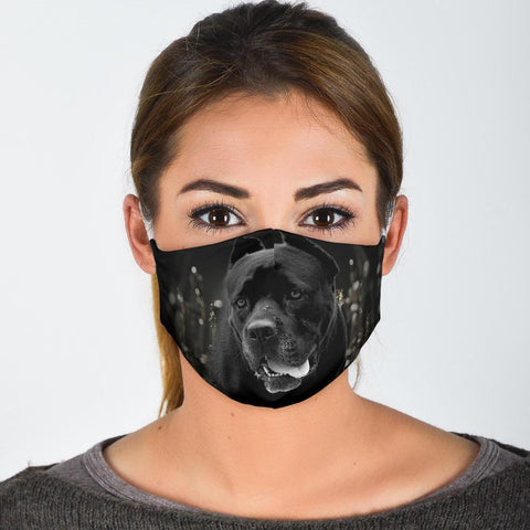 Cane Corso On Black Print Face Mask