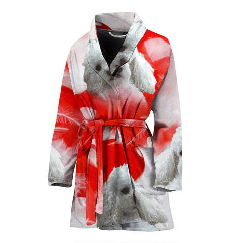 Lovely Poodle Print Women's Bath Robe
