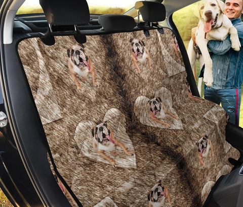 Bulldog in Heart Print Pet Seat Covers