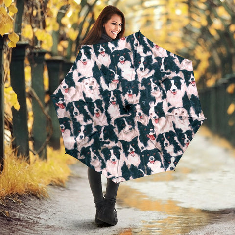 Border Collie Dog In Lots Print Umbrellas