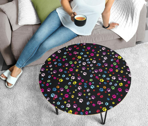 Colorful Paws Print Circular Coffee Table