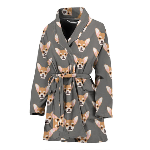 Cute Chihuahua Dog Pattern Print Women's Bath Robe