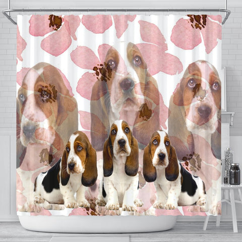 Basset Hound Print Shower Curtains