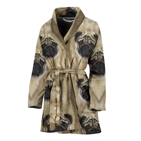 Cute Pug Dog Print Women's Bath Robe