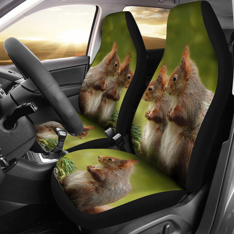 Cute Red Sqirrel Print Car Seat Covers