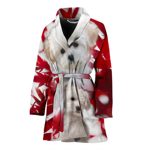 Maltese On Red Print Women's Bath Robe