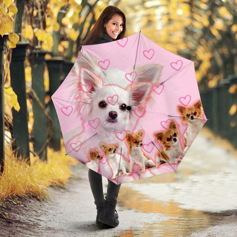 Chihuahua On Pink Print Umbrellas