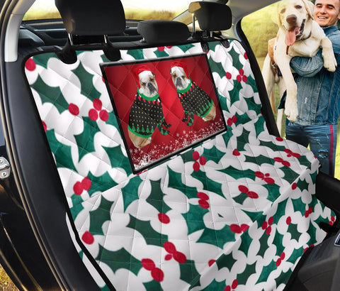 Bulldog Christmas Print Pet Seat Covers