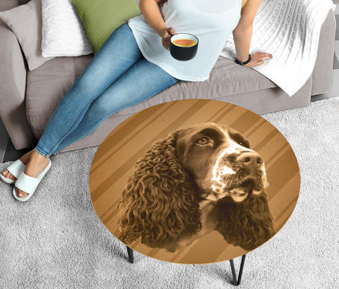 English Springer Spaniel Print Circular Coffee Table