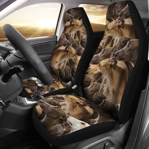 Greyhound Dog In Lots Print Car Seat Covers