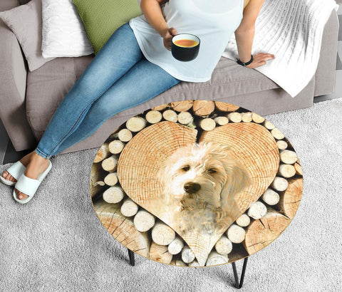Goldendoodle Print Circular Coffee Table