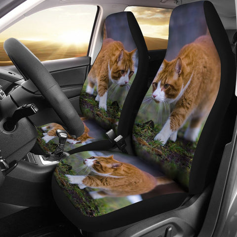 Cute Siberian Cat Print Car Seat Covers