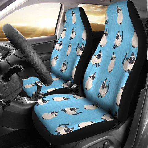 Siamese Cat On Skyblue Print Car Seat Covers