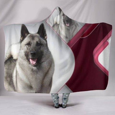 Amazing Norwegian Elkhound Print Hooded Blanket