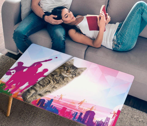 Maine Coon Cat Print Rectangular Coffee Table