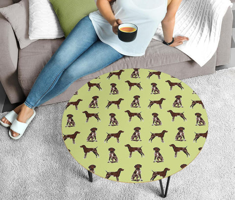 German Shorthaired Pointer Dog Pattern Print Circular Coffee Table
