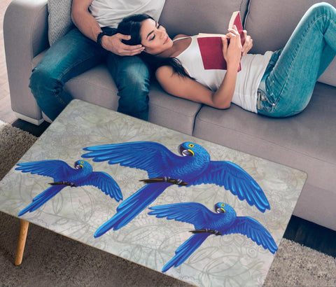 Hyacinth Macaw Parrot Art Print Rectangular Coffee Table