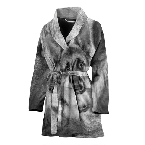 German Shepherd Black N White Print Women's Bath Robe
