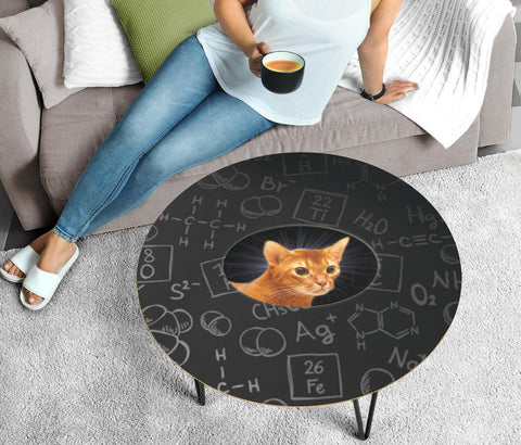 Cute Abyssinian Cat Print Circular Coffee Table