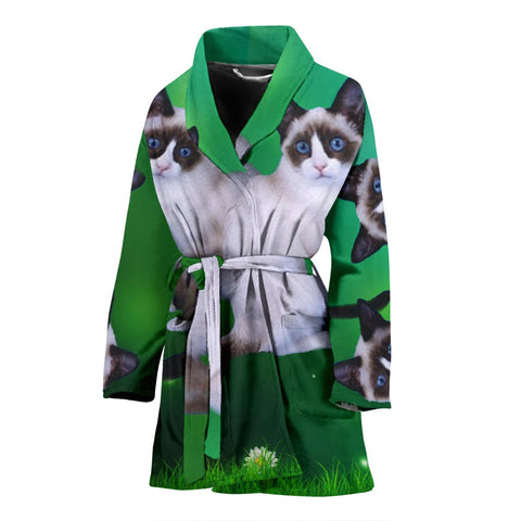 Lovely Snowshoe Cat Print Women's Bath Robe