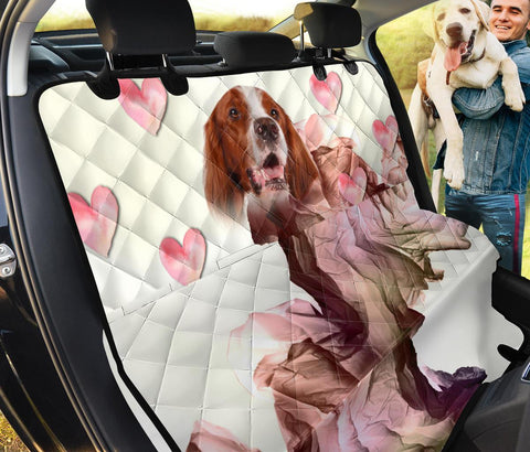 Irish Red and White Setter On Heart Print Pet Seat Covers
