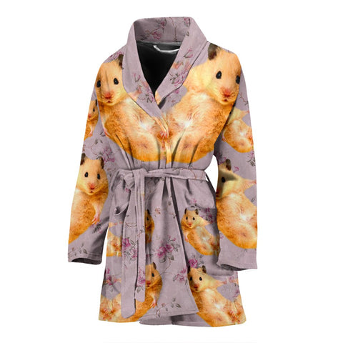 Golden Hamster Print Women's Bath Robe