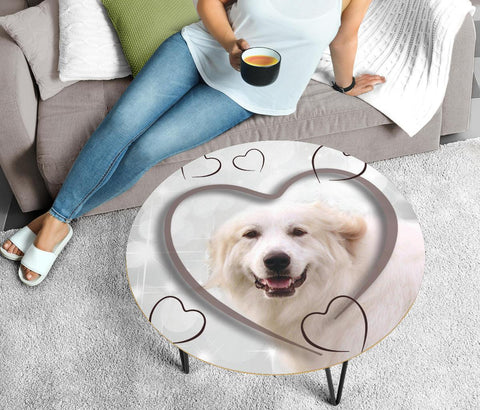 Great Pyrenees Print Circular Coffee Table