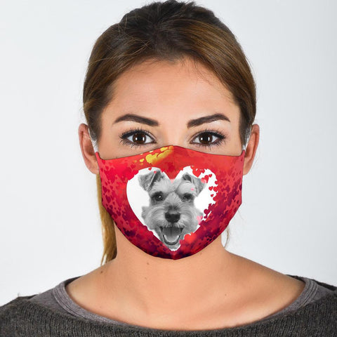Schnauzer On Heart Print Face Mask