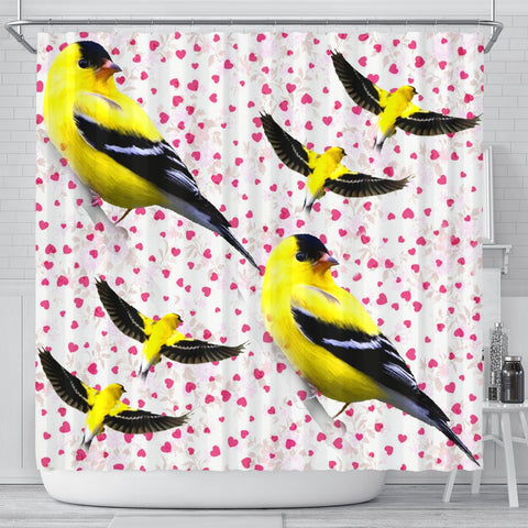 American Goldfinch Bird On Hearts Print Shower Curtains