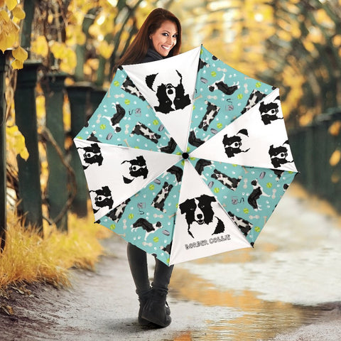 Border Collie Print Umbrellas