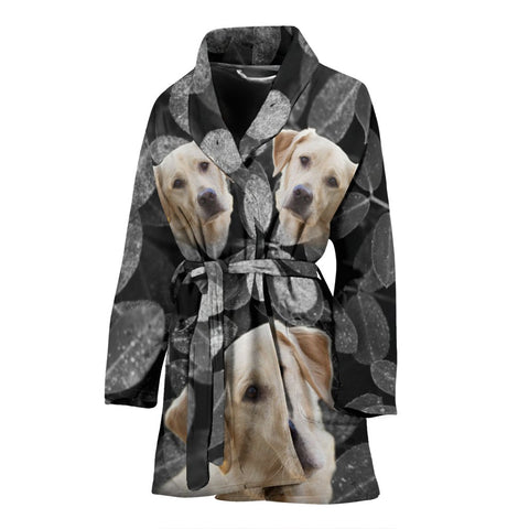 Cute Labrador Retriever Print Women's Bath Robe