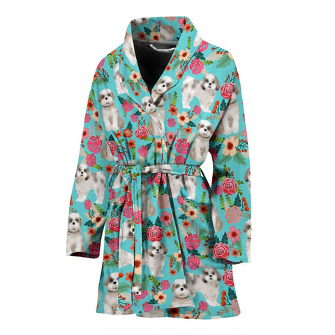 Cute Shih Tzu Dog Floral Print Women's Bath Robe