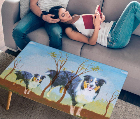 Cute English Shepherd Dog Print Rectangular Coffee Table