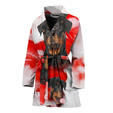 Cute Rottweiler Print Women's Bath Robe