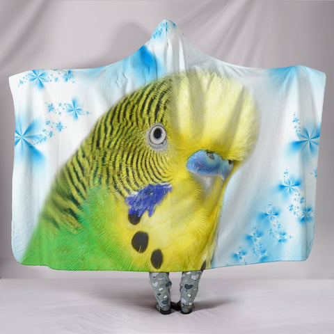 Budgerigar Parrot Print Hooded Blanket
