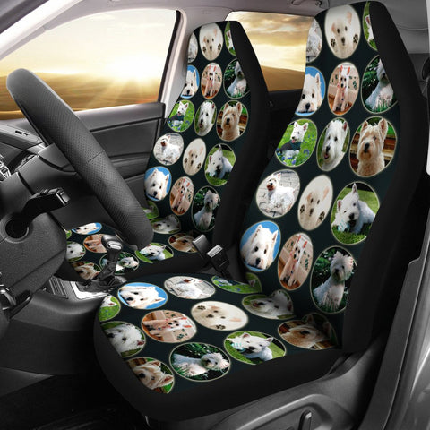 Cute Westie Dog Pattern Print Car Seat Covers