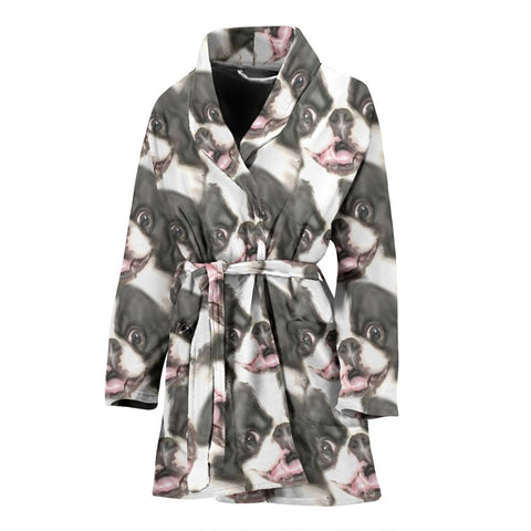 Japanese Chin Print Women's Bath Robe