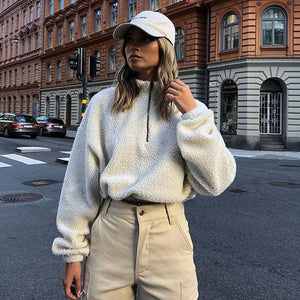 Hirigin Harajuku Sweater 2019 Newest Womens Winter Warm Fluffy Pullovers Jumper Winter Warm Top Coat Zipper Tops