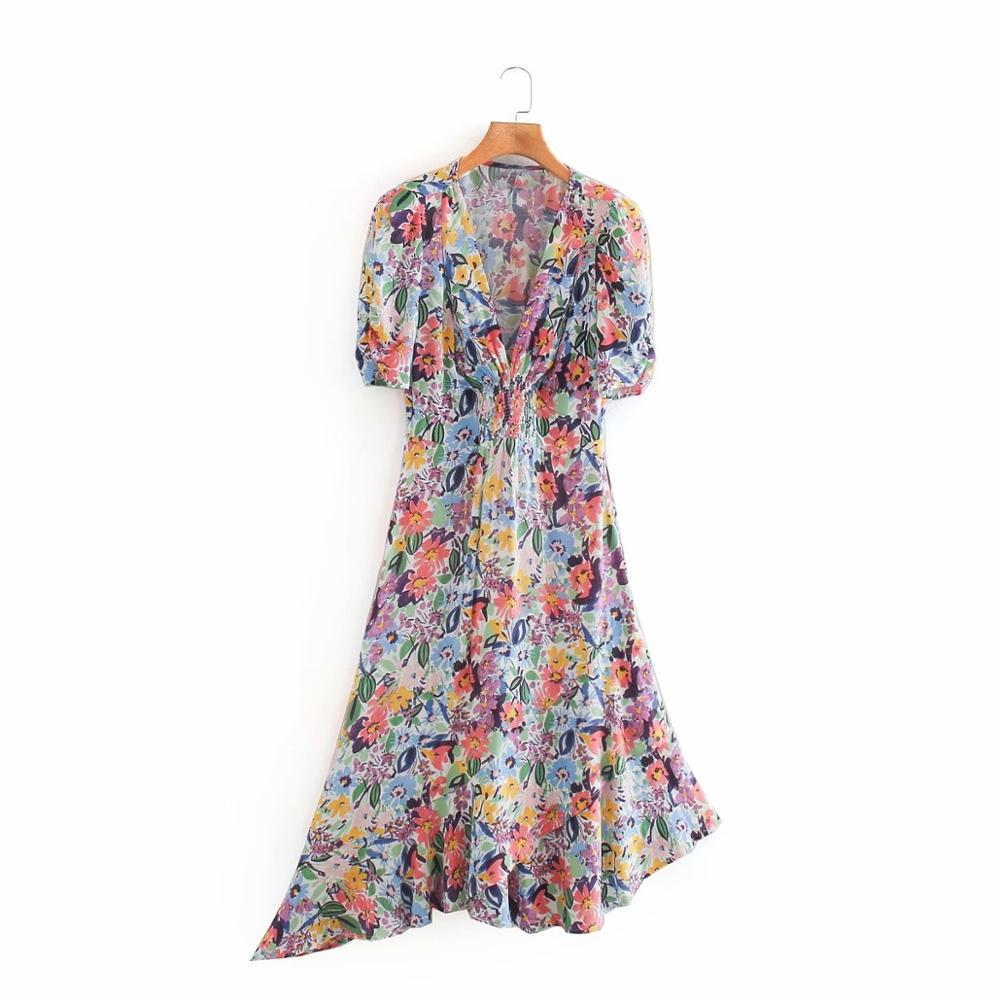 Women elegant v neck flower print elastic A line dress ladies prairie chic puff sleeve irregular hem casual midi Dresses DS4109