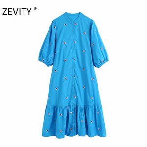 2020 women vintage lantern sleeve flower embroidery midi shirtdress female hem pleats vestidos chic casual loose dresses DS3436