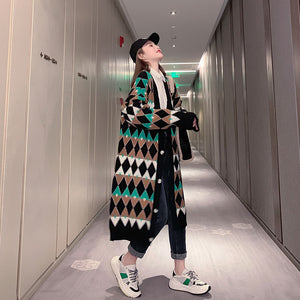 H.SA 2020 Winter Long Sweater and Cardigans Women V neck Vintage Argyle Oversize Knit Coat Warm Thick Sweater Jacket Female coat
